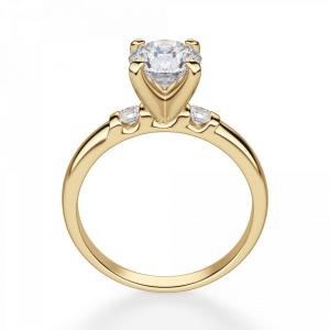 Кольцо с круглым бриллиантом и 2 боковыми - Фото 1