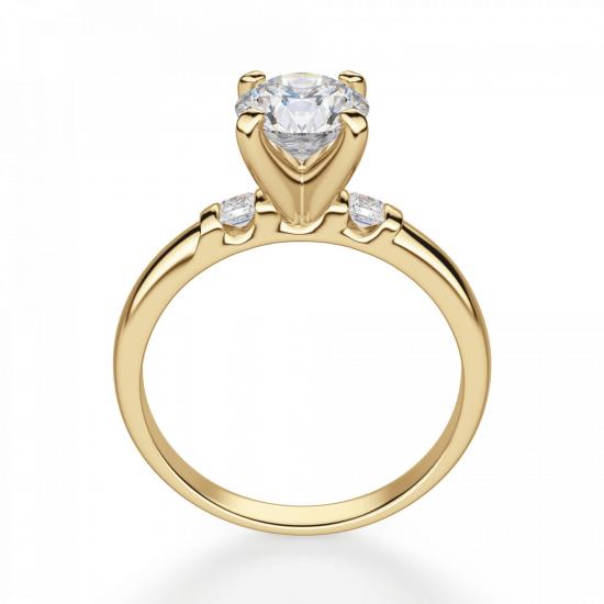 Кольцо с круглым бриллиантом и 2 боковыми,  Больше Изображение 2