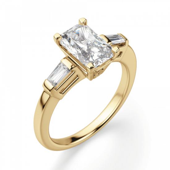 Кольцо с бриллиантом Радианти и багетами,  Больше Изображение 3