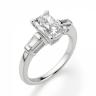 Кольцо с бриллиантом Радиант и багетами, Изображение 3