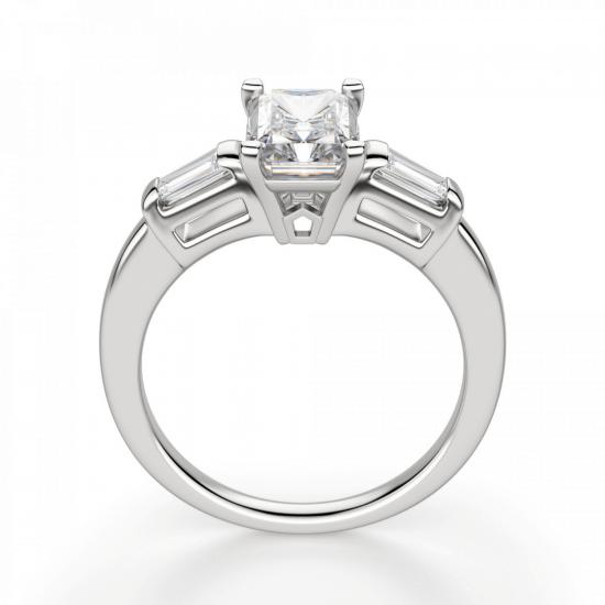 Кольцо с бриллиантом Радиант и багетами,  Больше Изображение 2