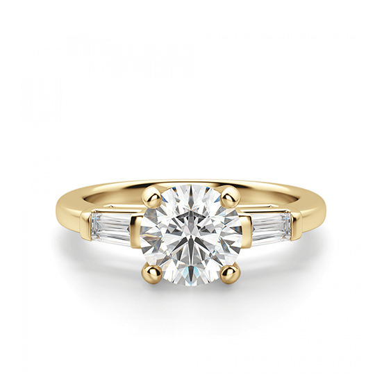 Кольцо с круглым бриллиантом и боковыми бриллиантами, Больше Изображение 1