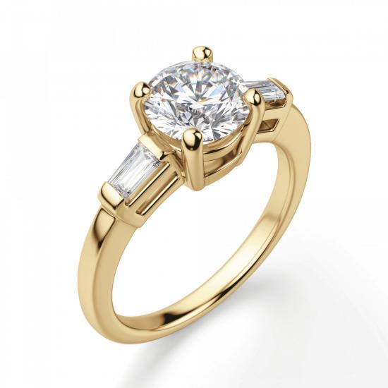Кольцо с круглым бриллиантом и боковыми бриллиантами,  Больше Изображение 3