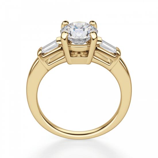 Кольцо с круглым бриллиантом и боковыми бриллиантами,  Больше Изображение 2