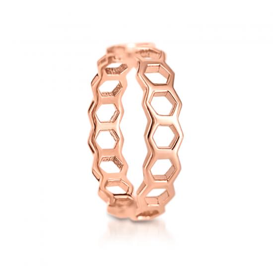 Кольцо Соты из золота 750 пробы,  Больше Изображение 2
