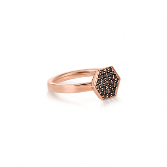 Кольцо с черными бриллиантами Miel