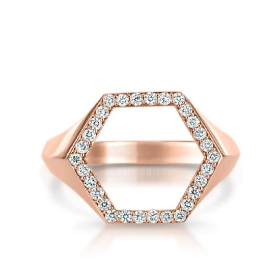 Кольцо шестиугольник с бриллиантами, Больше Изображение 1