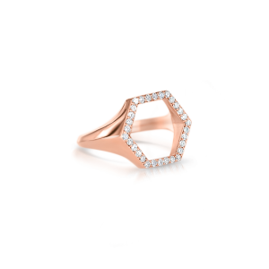 Кольцо шестиугольник с бриллиантами