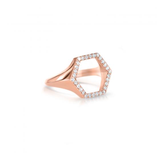 Кольцо шестиугольник с бриллиантами,  Больше Изображение 2