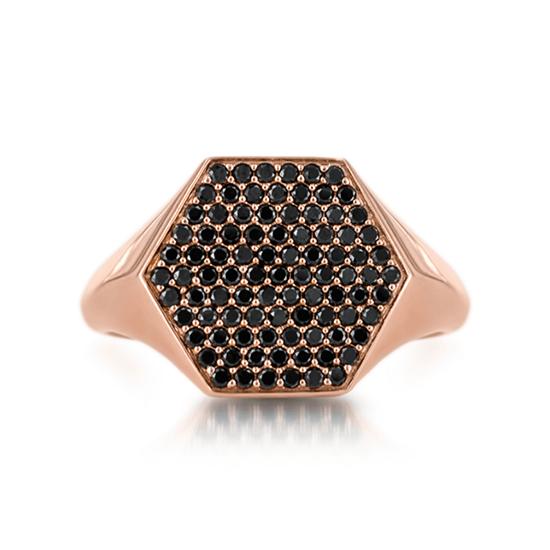Кольцо печатка с черными бриллиантами Miel, Больше Изображение 1