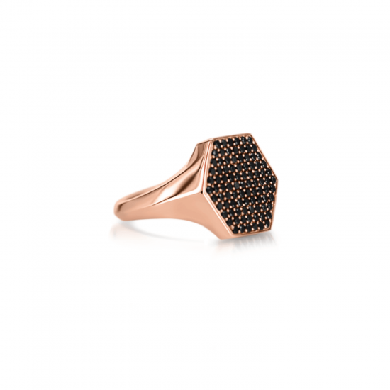 Кольцо печатка с черными бриллиантами Miel,  Больше Изображение 2