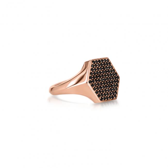 Кольцо печатка с черными бриллиантами Miel