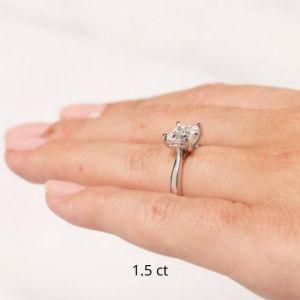 Кольцо с бриллиантом принцесса 1 карат из желтого золота - Фото 3