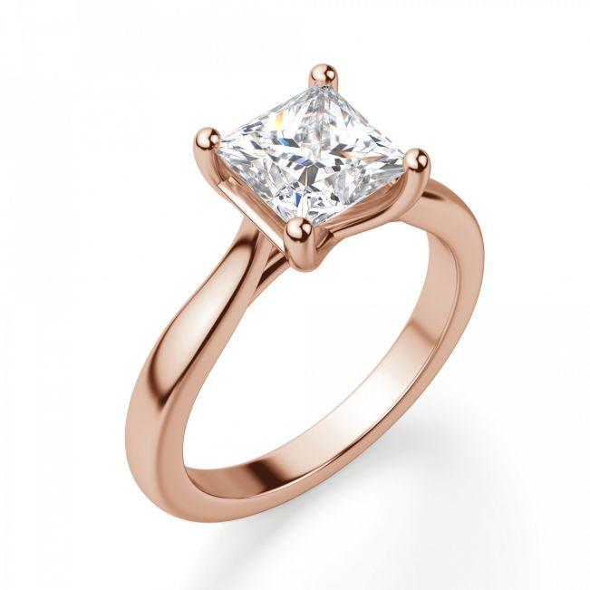Кольцо с бриллиантом принцесса в розовом золоте