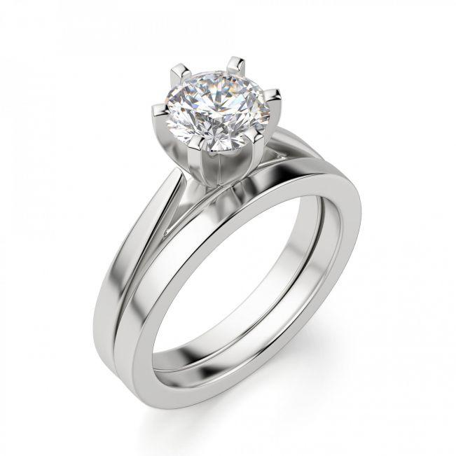 Кольцо с бриллиантом для помолвки из белого золота