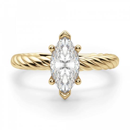 Кольцо с бриллиантом маркиз из золота, Больше Изображение 1