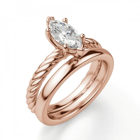 Кольцо с бриллиантом маркиз в розовом золоте,  Больше Изображение 4