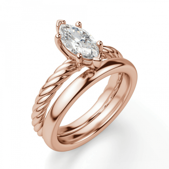 Кольцо с бриллиантом маркиз в розовом золоте