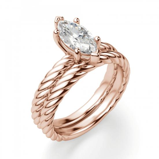 Кольцо с бриллиантом маркиз в розовом золоте,  Больше Изображение 5
