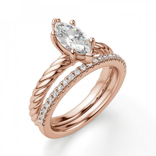 Кольцо с бриллиантом маркиз в розовом золоте,  Больше Изображение 6