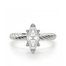 Кольцо с бриллиантом маркиз из белого золота