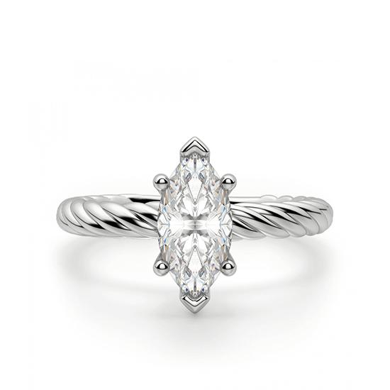 Кольцо с бриллиантом маркиз из белого золота, Больше Изображение 1