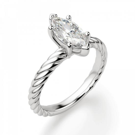 Кольцо с бриллиантом маркиз из белого золота,  Больше Изображение 3