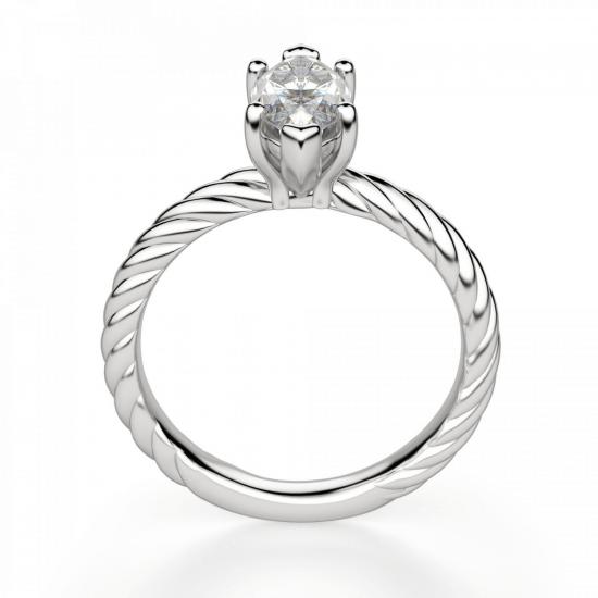 Кольцо с бриллиантом маркиз из белого золота,  Больше Изображение 2