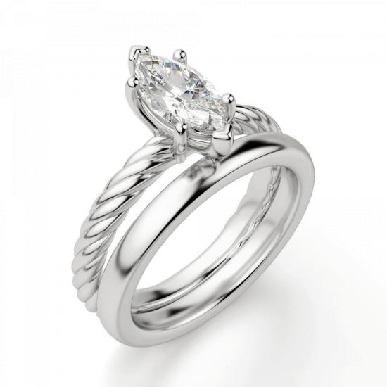 Кольцо с бриллиантом маркиз из белого золота,  Больше Изображение 4