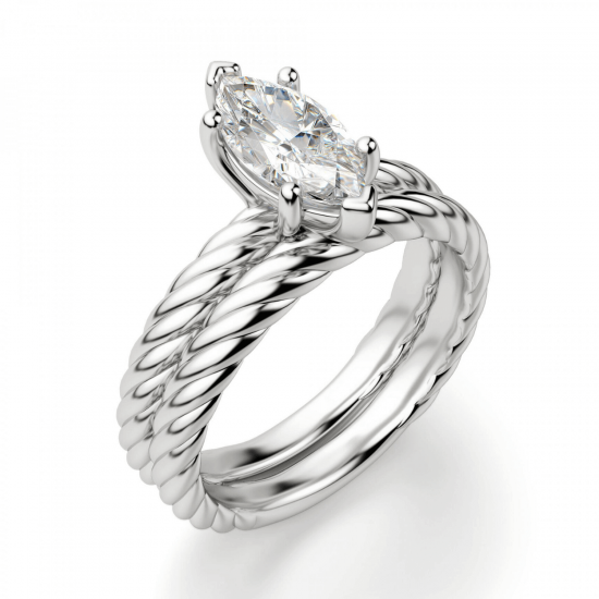 Кольцо с бриллиантом маркиз из белого золота,  Больше Изображение 5