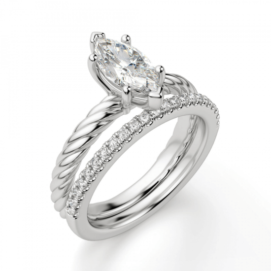 Кольцо с бриллиантом маркиз из белого золота,  Больше Изображение 6
