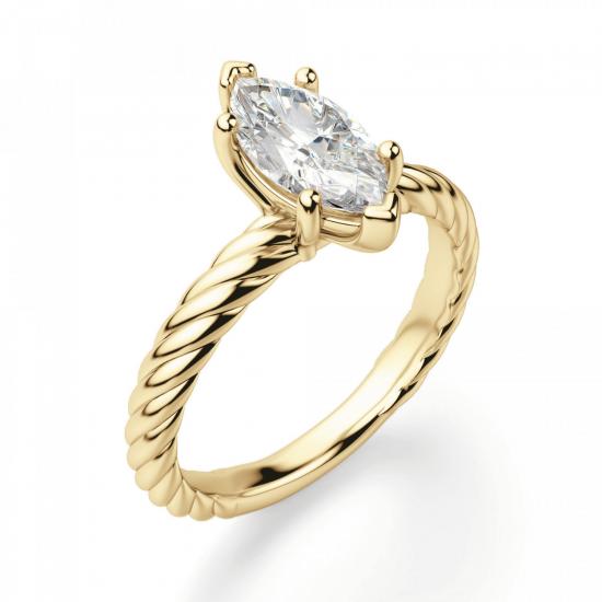 Кольцо с бриллиантом маркиз из золота,  Больше Изображение 3