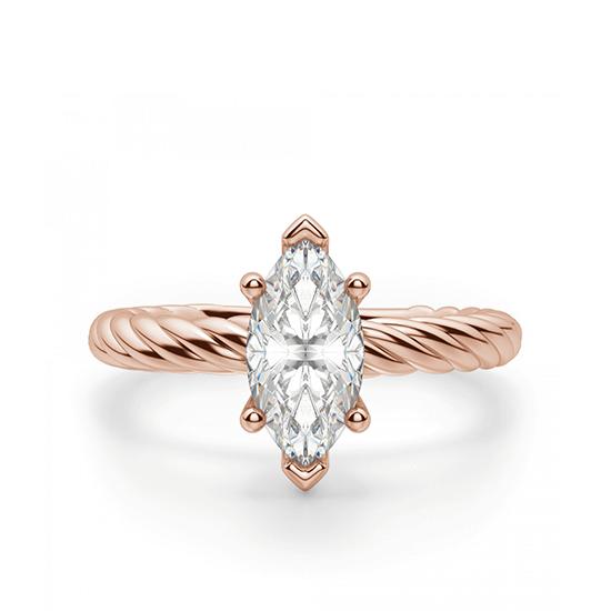 Кольцо с бриллиантом маркиз в розовом золоте, Больше Изображение 1