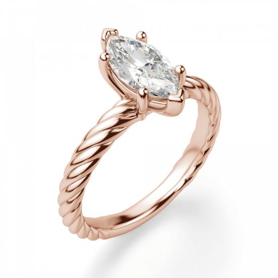 Кольцо с бриллиантом маркиз в розовом золоте,  Больше Изображение 3