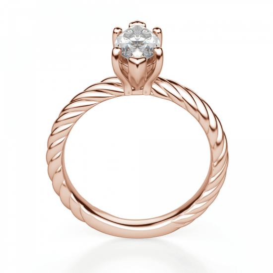Кольцо с бриллиантом маркиз в розовом золоте,  Больше Изображение 2