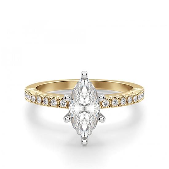 Кольцо с бриллиантом маркиз и паве, Больше Изображение 1