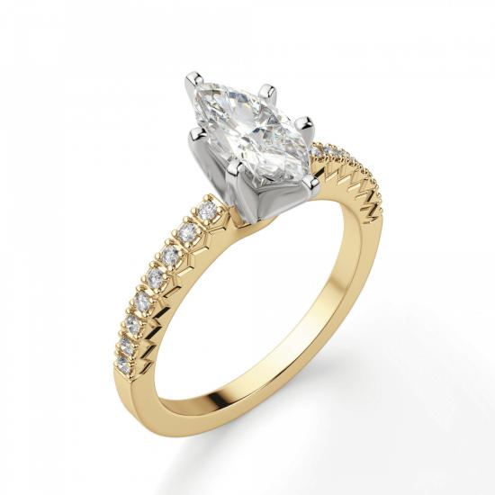 Кольцо с бриллиантом маркиз и паве,  Больше Изображение 3