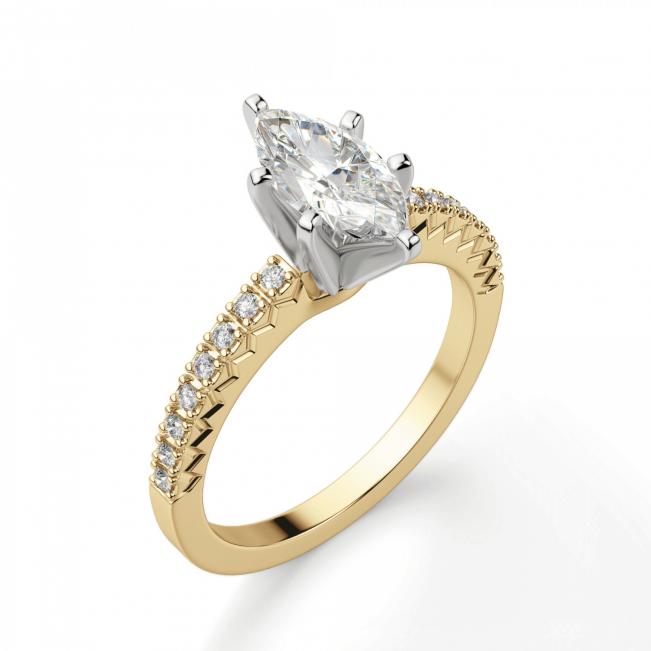 Кольцо с бриллиантом маркиз и паве - Фото 2