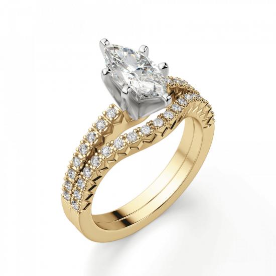 Кольцо с бриллиантом маркиз и паве,  Больше Изображение 4