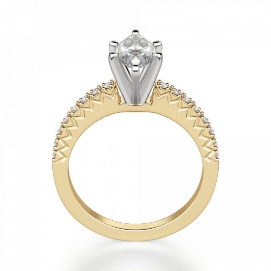 Кольцо с бриллиантом маркиз и паве,  Больше Изображение 2