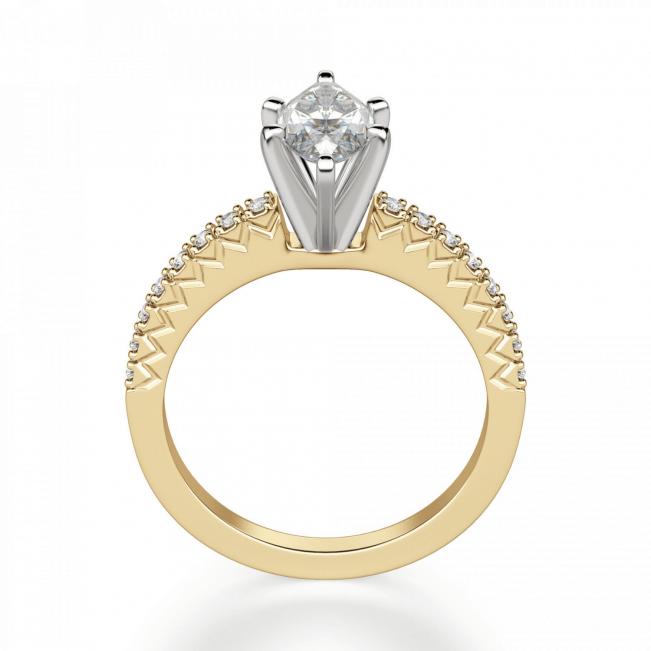 Кольцо с бриллиантом маркиз и паве - Фото 1