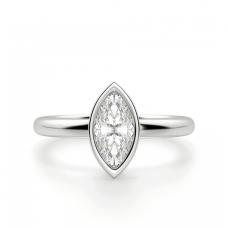 Кольцо с бриллиантом маркиз в белом золоте