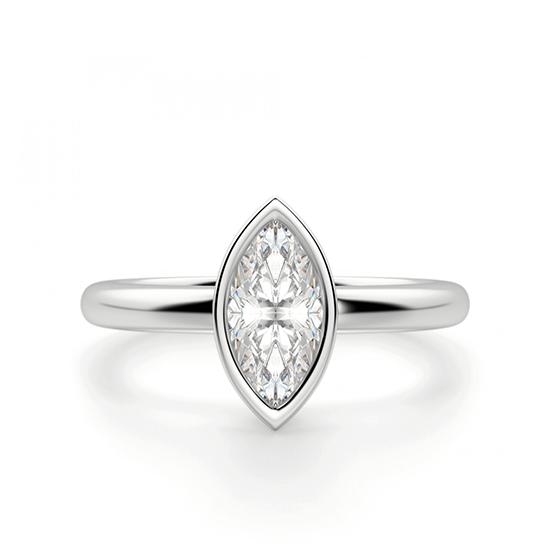 Кольцо с бриллиантом маркиз в белом золоте, Больше Изображение 1