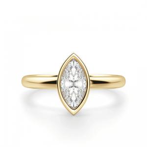 Кольцо с бриллиантом маркиз в желтом золоте