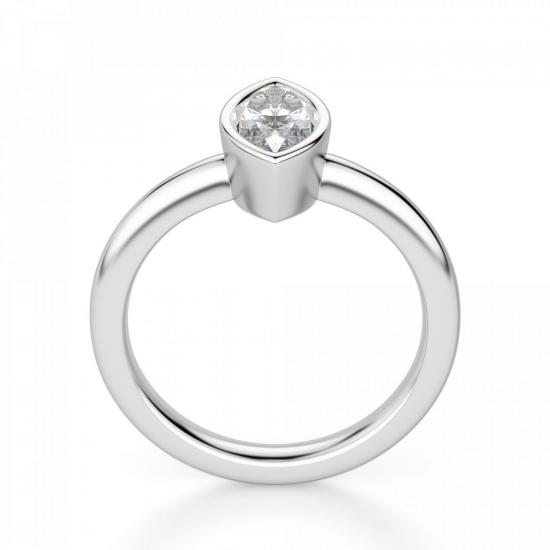 Кольцо с бриллиантом маркиз в белом золоте,  Больше Изображение 2