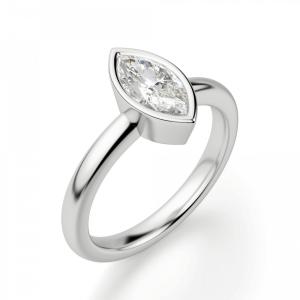 Кольцо с бриллиантом маркиз в белом золоте - Фото 2