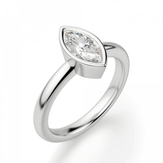 Кольцо с бриллиантом маркиз в белом золоте,  Больше Изображение 3