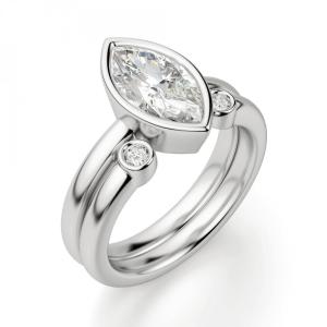 Кольцо с бриллиантом маркиз в белом золоте - Фото 3