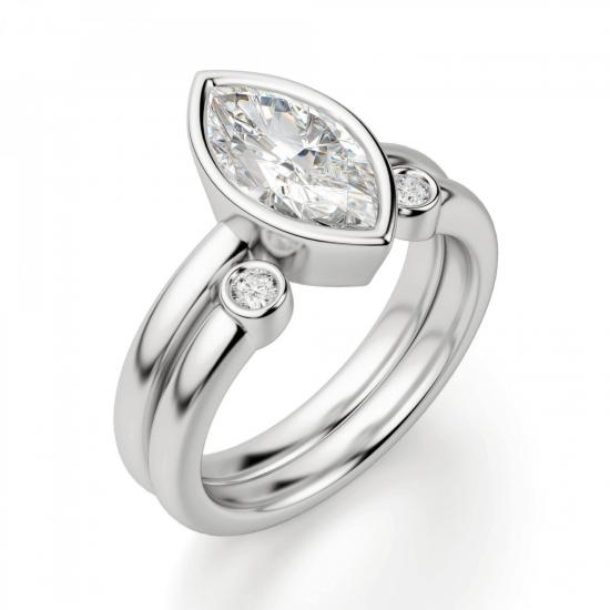 Кольцо с бриллиантом маркиз в белом золоте,  Больше Изображение 4