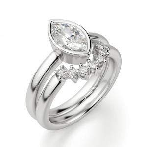 Кольцо с бриллиантом маркиз в белом золоте - Фото 4